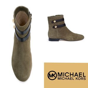 NWT MICHAEL Michael Kors Suede Leather Flat Bootie